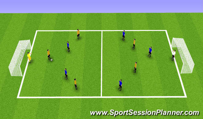 Football/Soccer Session Plan Drill (Colour): Finishing in Middle to Final third