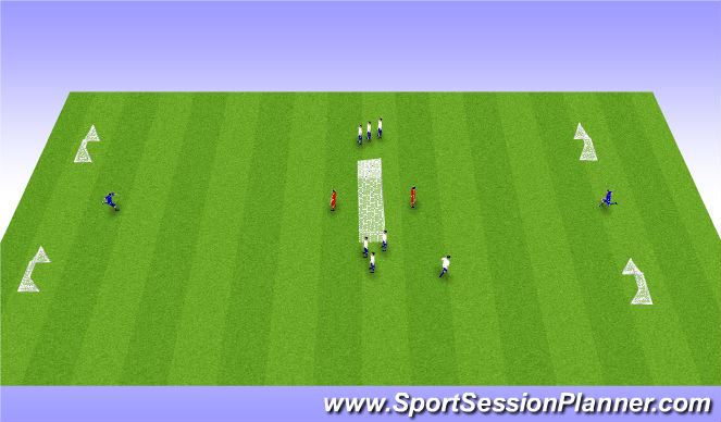 Football/Soccer Session Plan Drill (Colour): 1v1 flying colors to big goal
