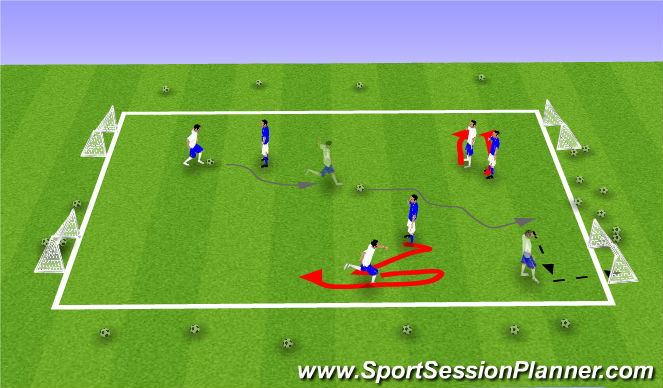 Football/Soccer Session Plan Drill (Colour): 3v3 With GK