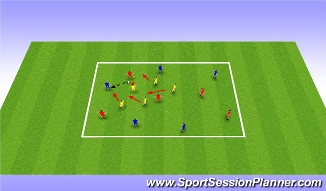 Football/Soccer Session Plan Drill (Colour): Defending 10x5