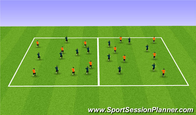 Football/Soccer Session Plan Drill (Colour): Team Freeze tag