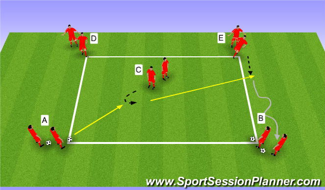 Football/Soccer Session Plan Drill (Colour): Wedstrijd WU | passen en trappen deel 1