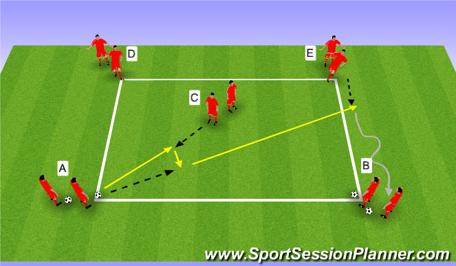 Football/Soccer Session Plan Drill (Colour): Wedstrijd WU | passen en trappen deel 2