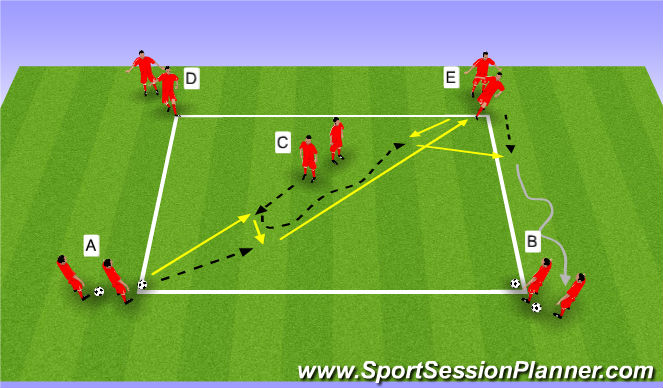 Football/Soccer Session Plan Drill (Colour): Wedstrijd WU | passen en trappen deel 3