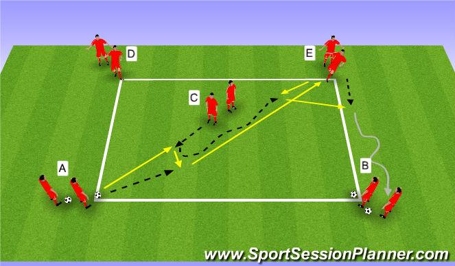 Football/Soccer Session Plan Drill (Colour): Wedstrijd WU | passen en trappen deel 3