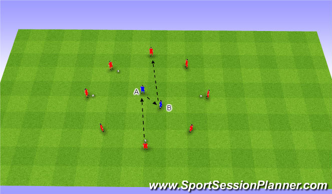 Football/Soccer Session Plan Drill (Colour): Warm Up - Passing and Receiving
