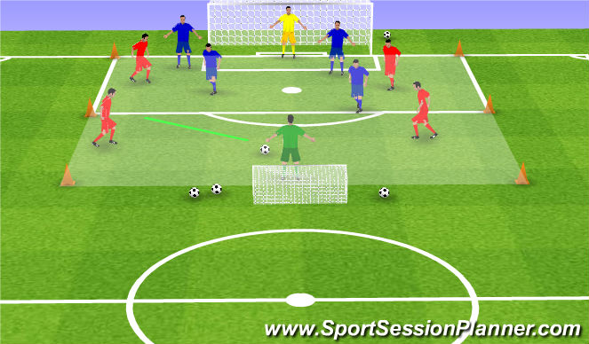 Football/Soccer Session Plan Drill (Colour): 5:5 met 2 grote doelen