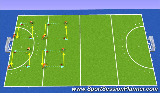 Hockey Session Plan Drill (Colour): passing/warm up