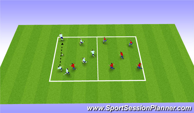 Football/Soccer Session Plan Drill (Colour): 6V1