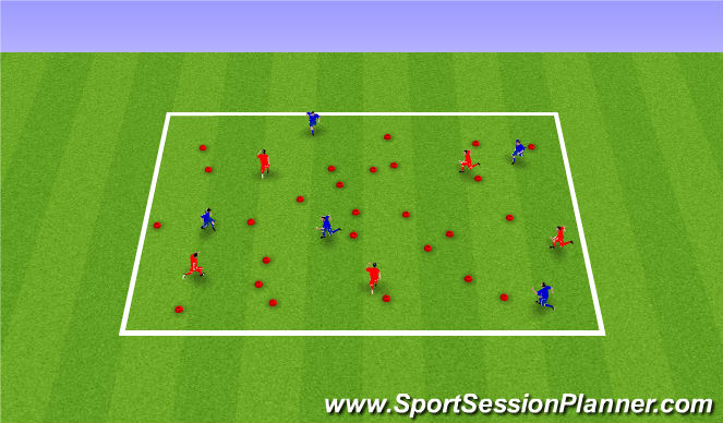Football/Soccer Session Plan Drill (Colour): Warm up - flip the cones
