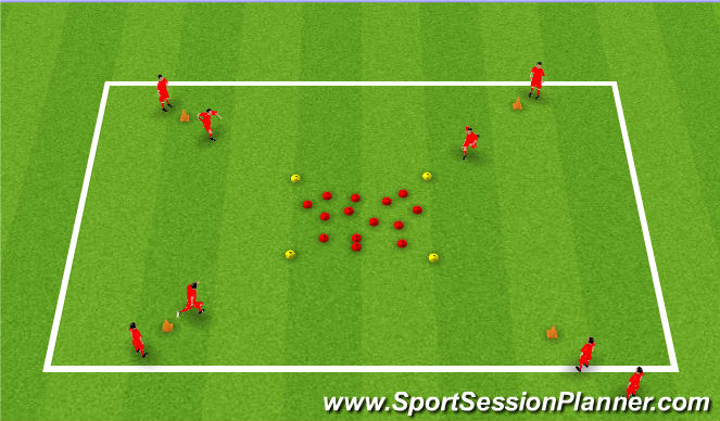 Football/Soccer Session Plan Drill (Colour): Warm up - Team running/dribbling
