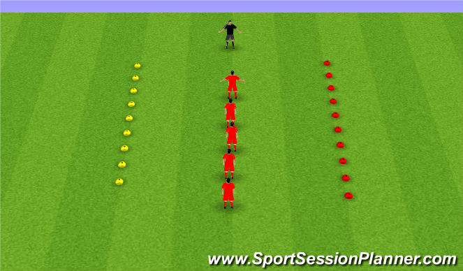 Football/Soccer Session Plan Drill (Colour): Warm up - quick reactions