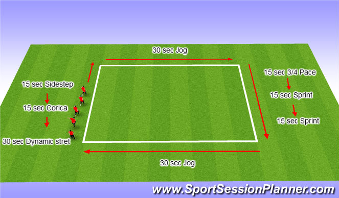 Football/Soccer Session Plan Drill (Colour): Interval Training & Warm Up