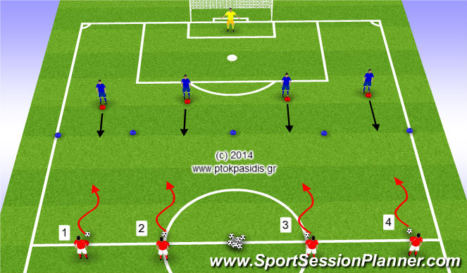Football/Soccer Session Plan Drill (Colour): Άμυνα ζώνης 4