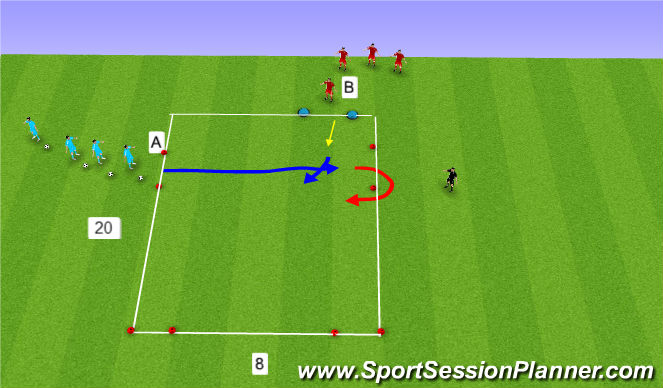 Football/Soccer Session Plan Drill (Colour): 1 v 1's