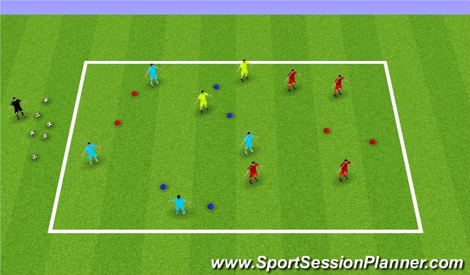 Football/Soccer Session Plan Drill (Colour): 4 v 4 + 2 ssa