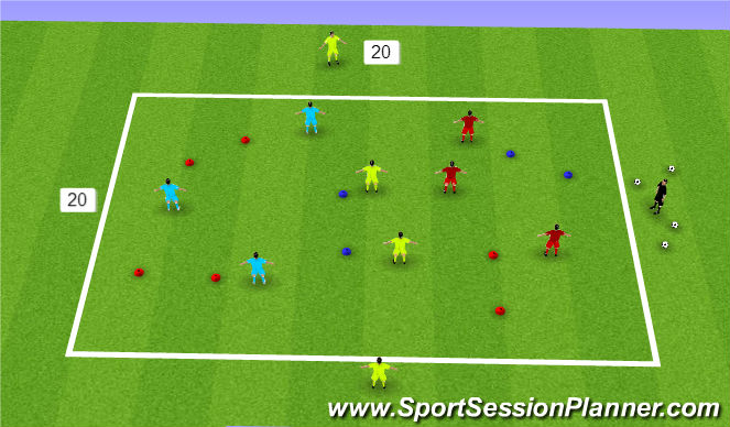 Football/Soccer Session Plan Drill (Colour): SSA: 3 v 3 +2 OR 5 v 5 SSG