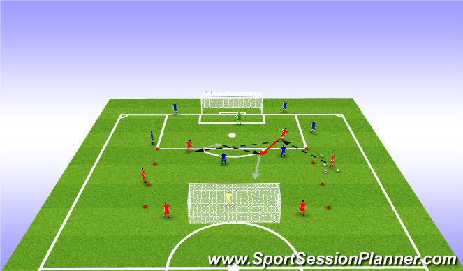 Football/Soccer Session Plan Drill (Colour): Skilyrtur leikur1