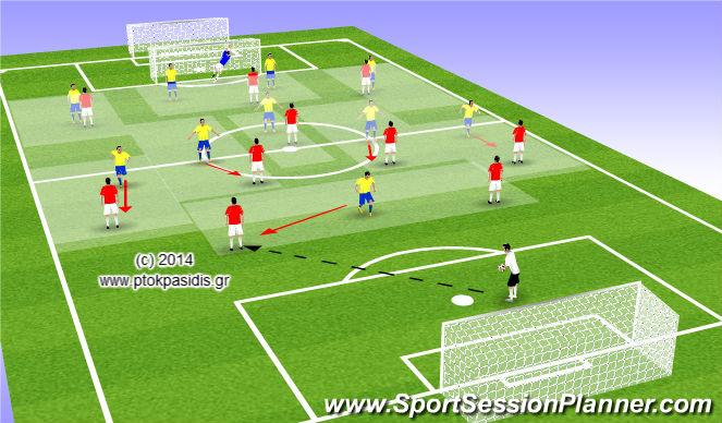 Football/Soccer Session Plan Drill (Colour): ΤΑΚΤΙΚΗ (ΠΙΕΣΗ και ΑΝΤΕΠΙΘΕΣΗ)