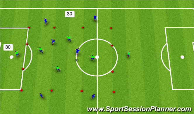 Football/Soccer Session Plan Drill (Colour): 2+6 vs 4