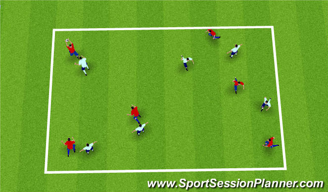 Football/Soccer Session Plan Drill (Colour): Hand Ball Warm up Game