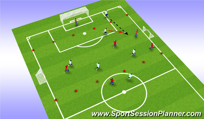Football/Soccer Session Plan Drill (Colour): 6v6 wide play