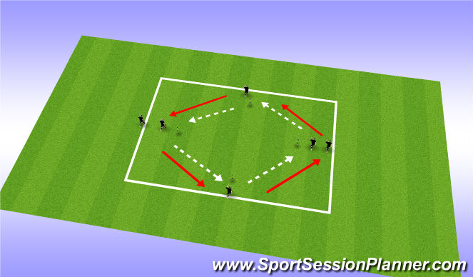 Football/Soccer Session Plan Drill (Colour): passing pattern diamond