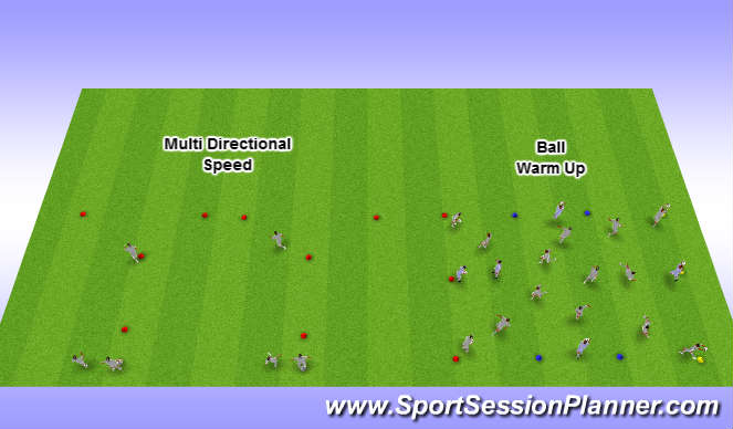 Football/Soccer Session Plan Drill (Colour): Multi Directional Speed with warm up
