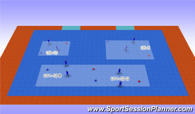 Futsal Session Plan Drill (Colour): Shadow Races