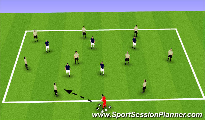"Football/Soccer Session Plan Drill (Colour): Stage II Small Sided Activity ""9v5 Possession"""