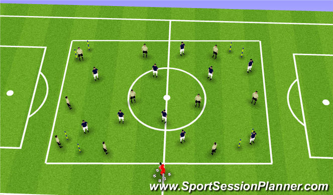 "Football/Soccer Session Plan Drill (Colour): Stage III Expanded Small Sided Activity ""21's/Four Gate Possession"""