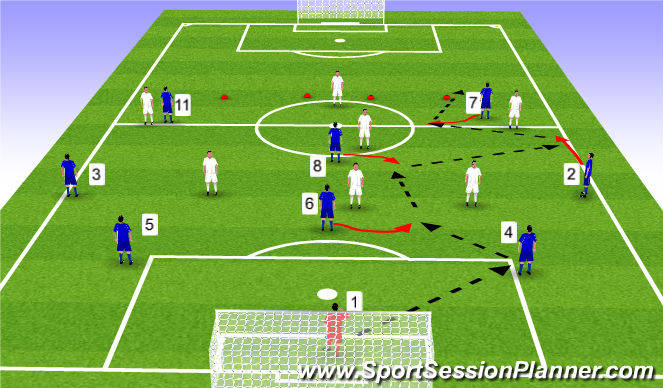 Football/Soccer Session Plan Drill (Colour): Stage III - ESSG - 8v6