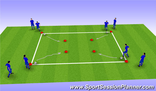 Football/Soccer Session Plan Drill (Colour): 1v1 Skills on Cone