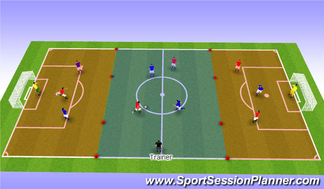 Football/Soccer Session Plan Drill (Colour): 3 - 4 - 3