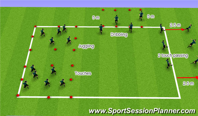 Football/Soccer Session Plan Drill (Colour): Stations