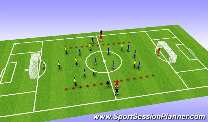 Football/Soccer Session Plan Drill (Colour): 332 vs 332 9v9