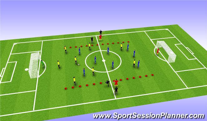 Football/Soccer Session Plan Drill (Colour): 332 vs 332 9v9