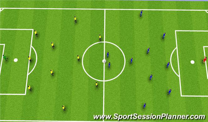 Football/Soccer Session Plan Drill (Colour): 352v352 11v11