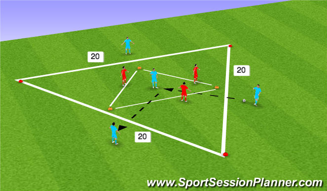 Football/Soccer Session Plan Drill (Colour): Triangle inside Triangle