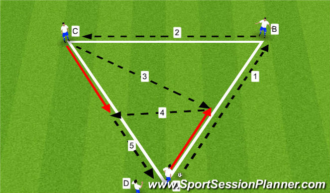 Football/Soccer Session Plan Drill (Colour): Warm-Up - Triangle Passing - 10 Minutes