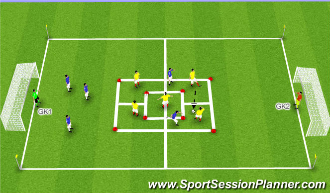 Football/Soccer Session Plan Drill (Colour): 5 vs. 2 in 5 Grids to Goal
