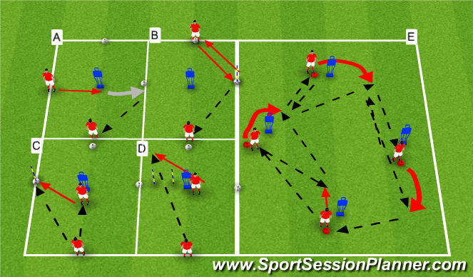 Football/Soccer Session Plan Drill (Colour): Movement Off Ball Rotations