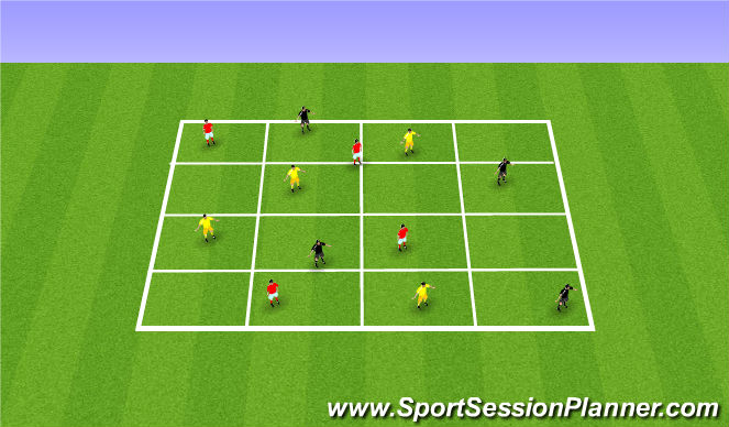 Football/Soccer Session Plan Drill (Colour): 3 Teams