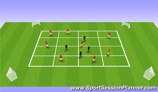Football/Soccer Session Plan Drill (Colour): 2 Teams v 1