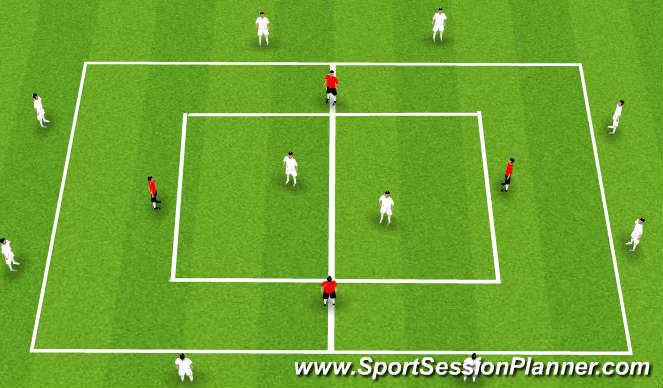 Football/Soccer Session Plan Drill (Colour): 4v2 to 10v4