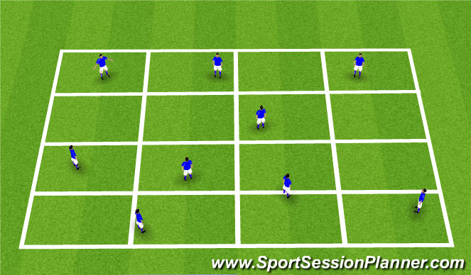 Football/Soccer Session Plan Drill (Colour): Grid - Passing warm up in 2's