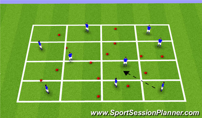 Football/Soccer Session Plan Drill (Colour): Passing Grid with Gates