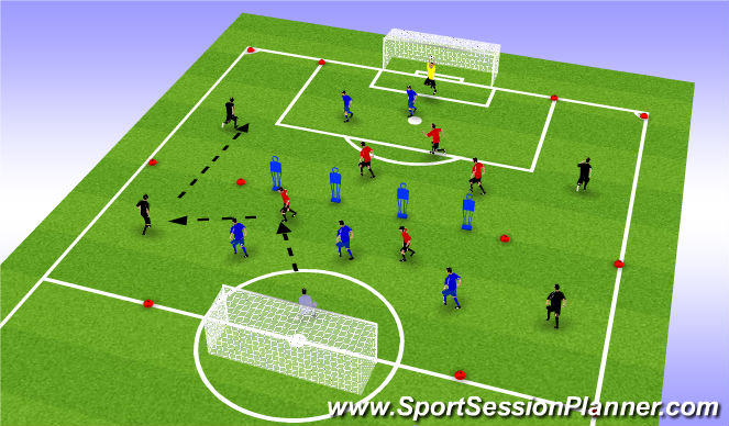 Football/Soccer Session Plan Drill (Colour): possession to play wide man in for crosses