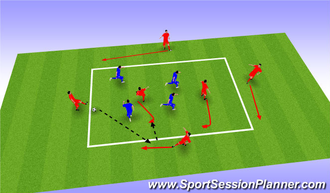 Football/Soccer Session Plan Drill (Colour): 4+2v4 - Game type Rondo