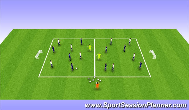 Football/Soccer Session Plan Drill (Colour): 8v8 Split into 1/2